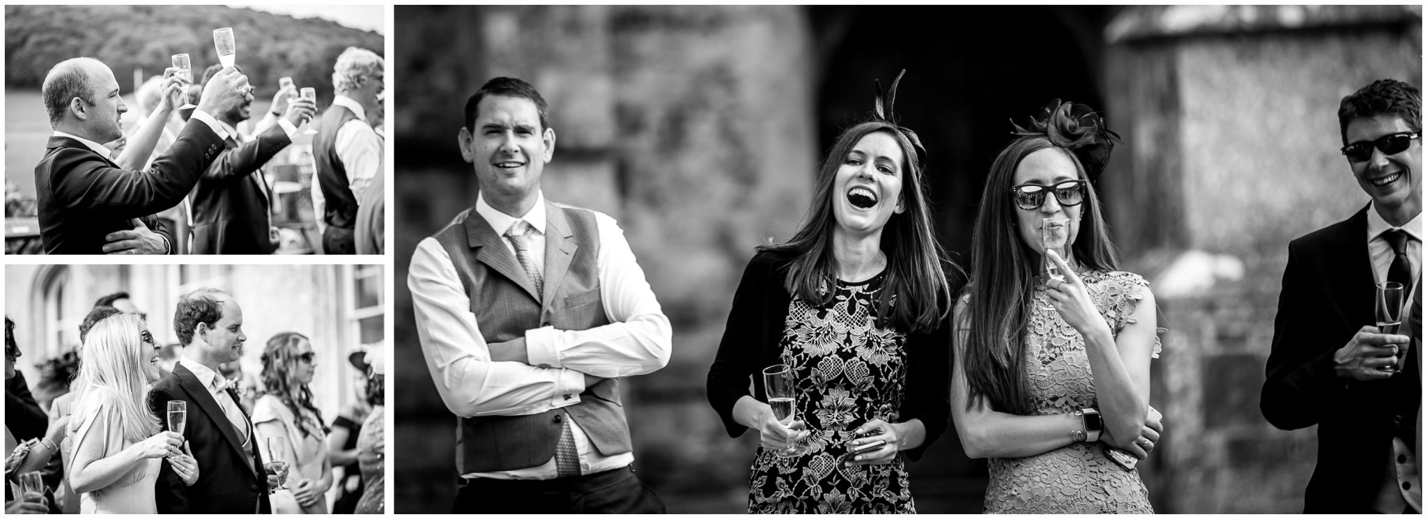 Candid photos of guests watching wedding speeches