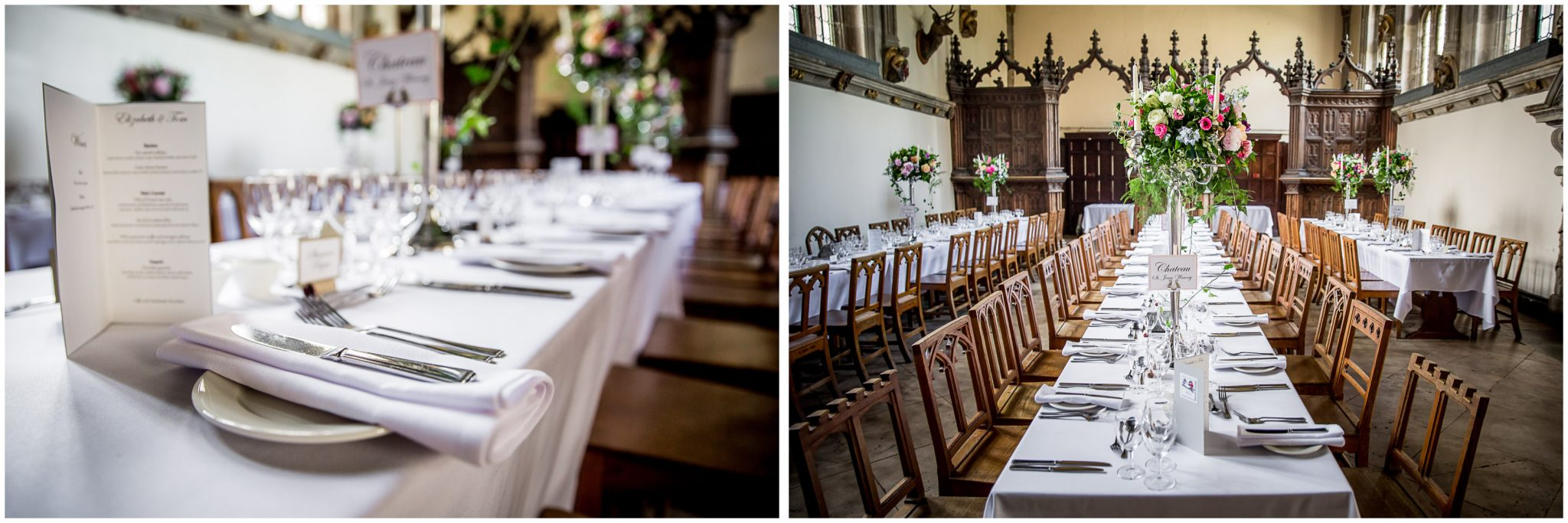 The dining room at Milton Abbey school set up in a banqueting style for the wedding breakfast