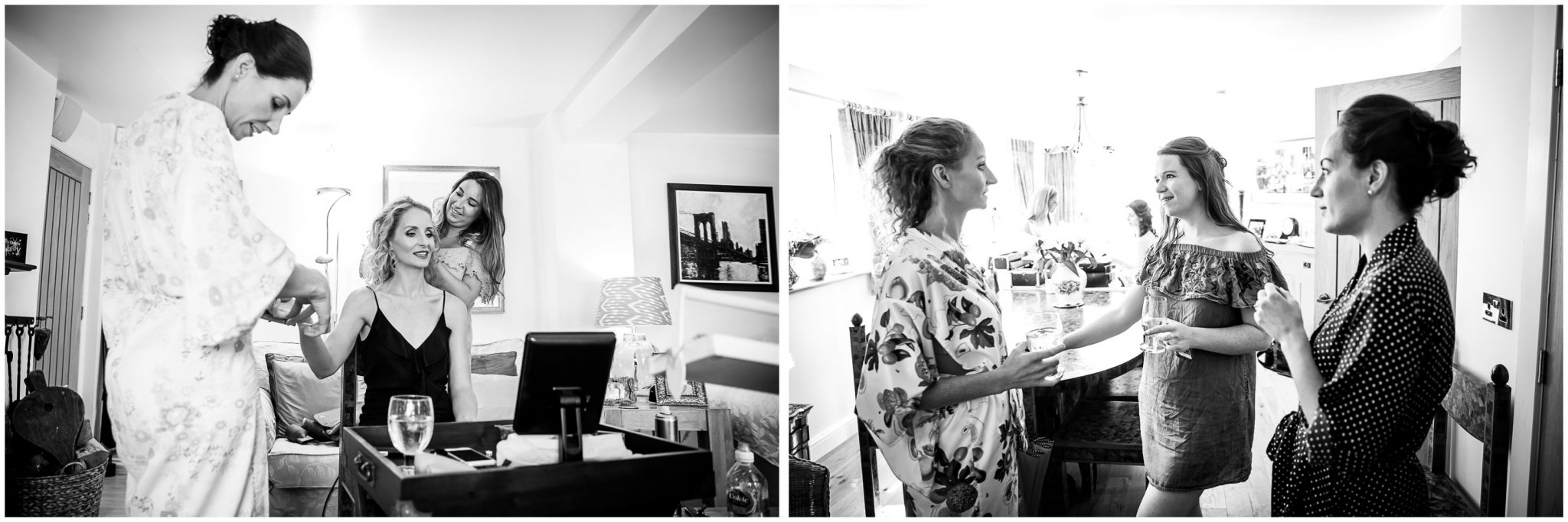Black and white candid photographs of bride and bridesmaids getting ready