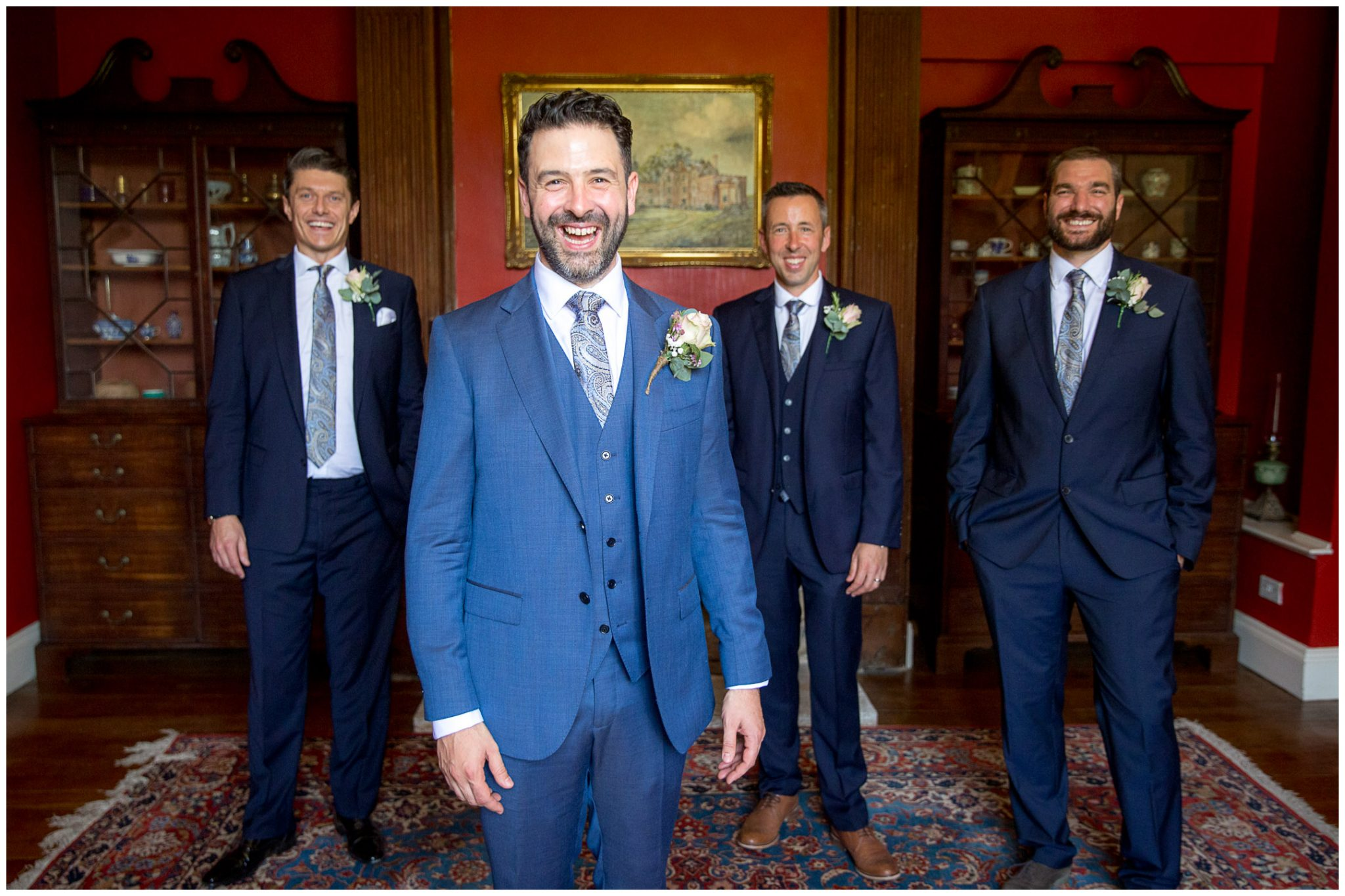Groom, best man and ushers portrait before Newhouse Estate wedding ceremony