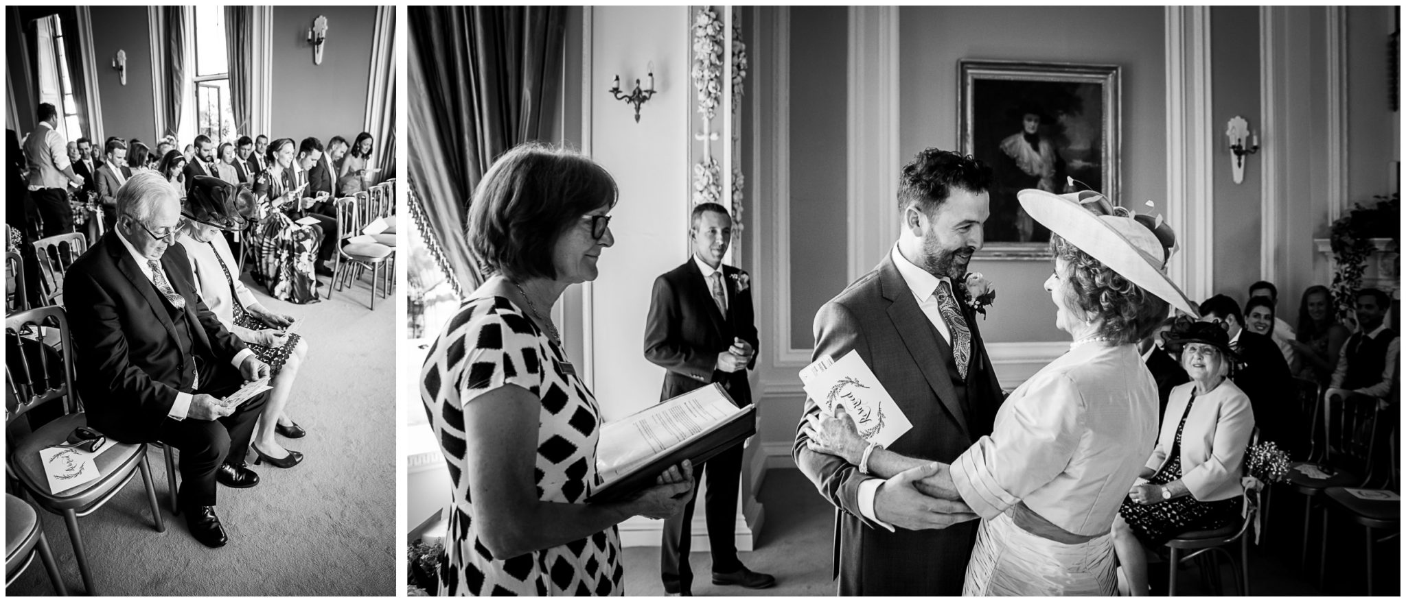 Black and white photo of wedding guests waiting in the ceremony room