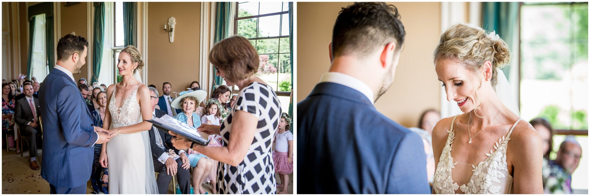 The couple make their vows and exchange rings