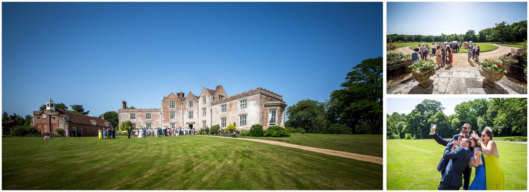Wedding guests enjoying the Newhouse Estate wedding venue in the Summer sunshine