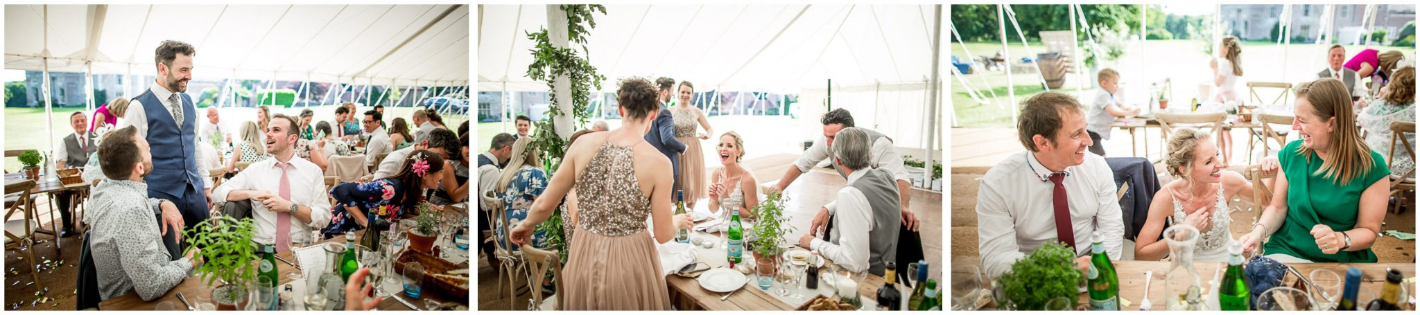 Bride and groom spend time with their wedding guests