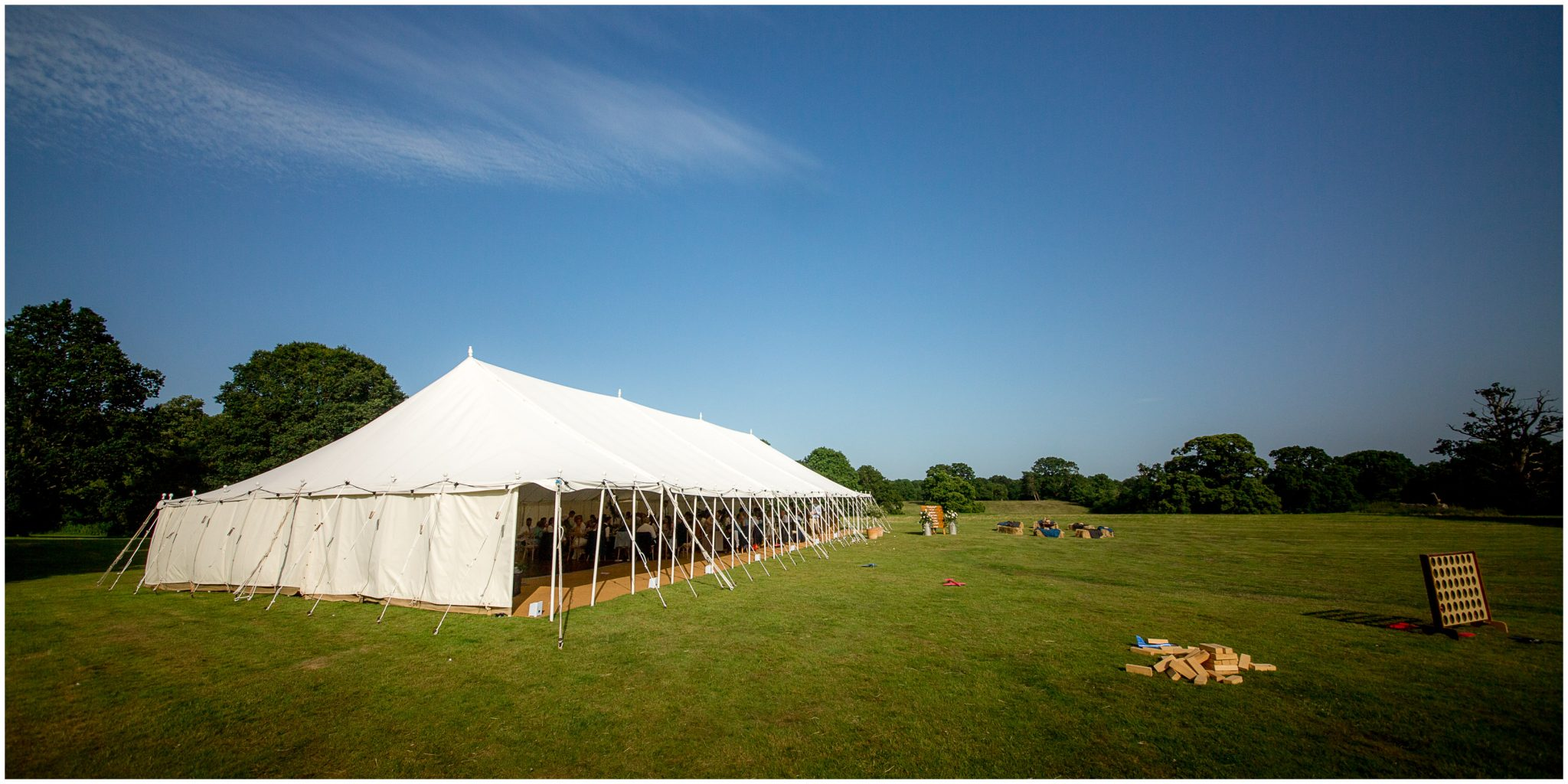 Photograph of the marquee set up on the rear lawn