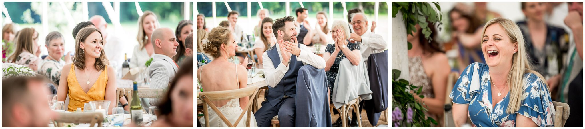 Bride, groom and guests listen to the best man's speech