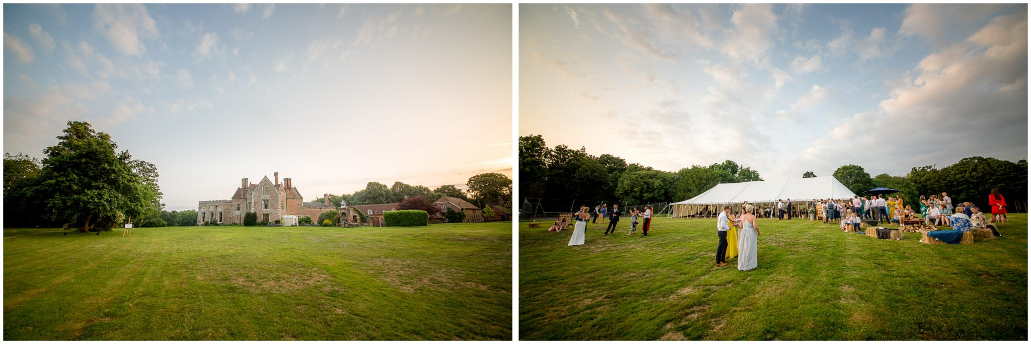 New House Estate wedding venue and marquee in the Summer evening light