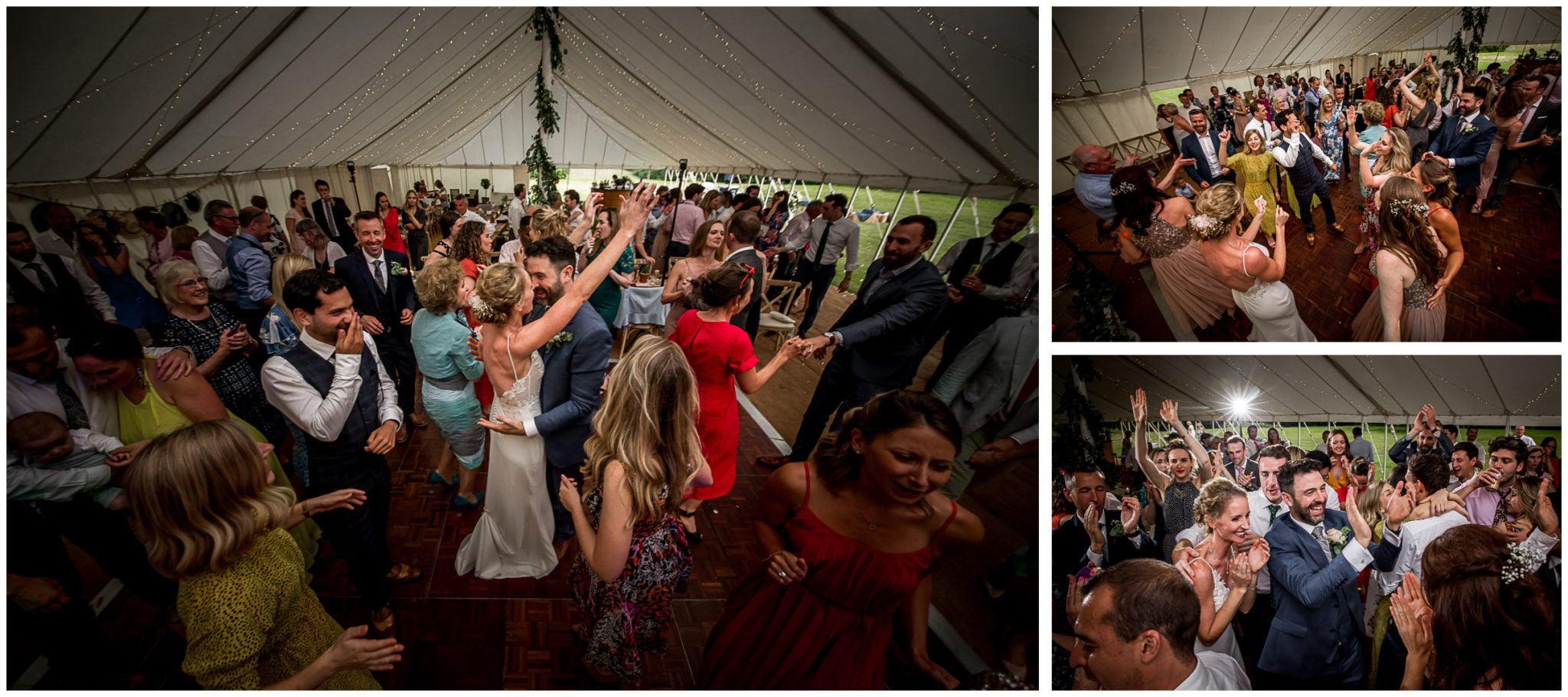 Dancefloor action at wedding reception