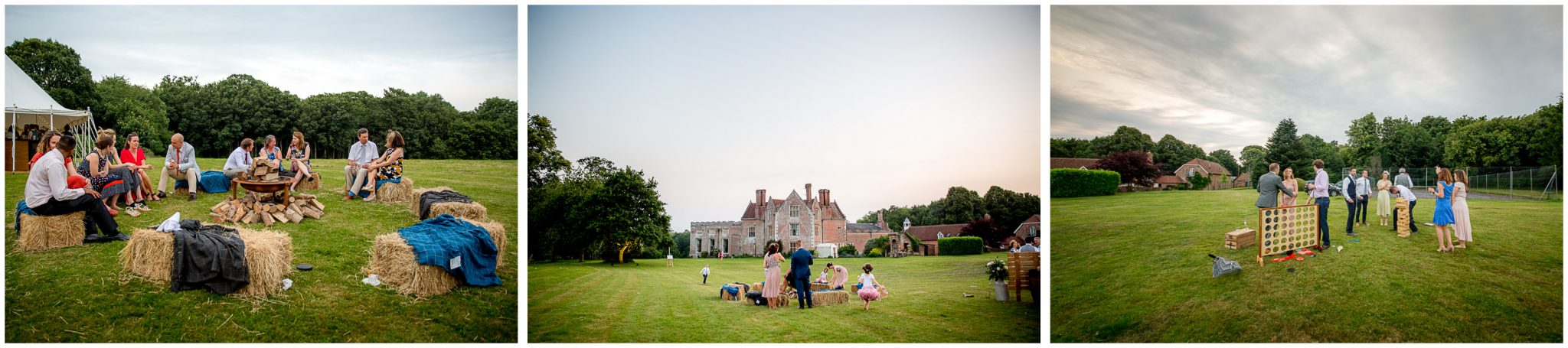 Wedding guests relax and enjoy the evening light at marquee reception in the New Forest