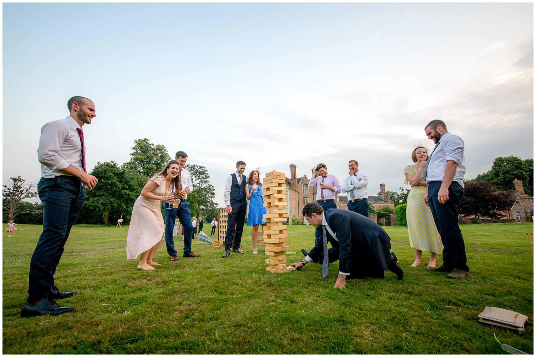 Giant Jenga on the rear lawn