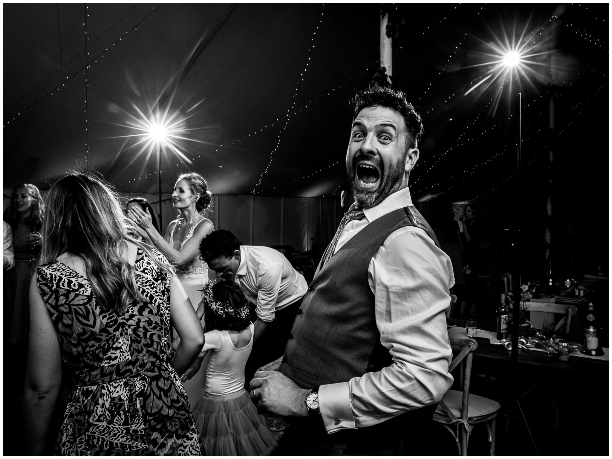 The groom busts out some moves