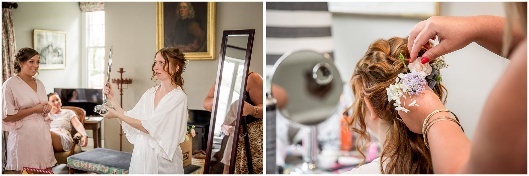 Bridal preparation in the Gate House at Deans Court Dorset wedding venue
