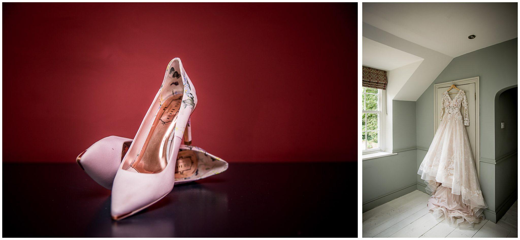 Wedding shoe and dress details