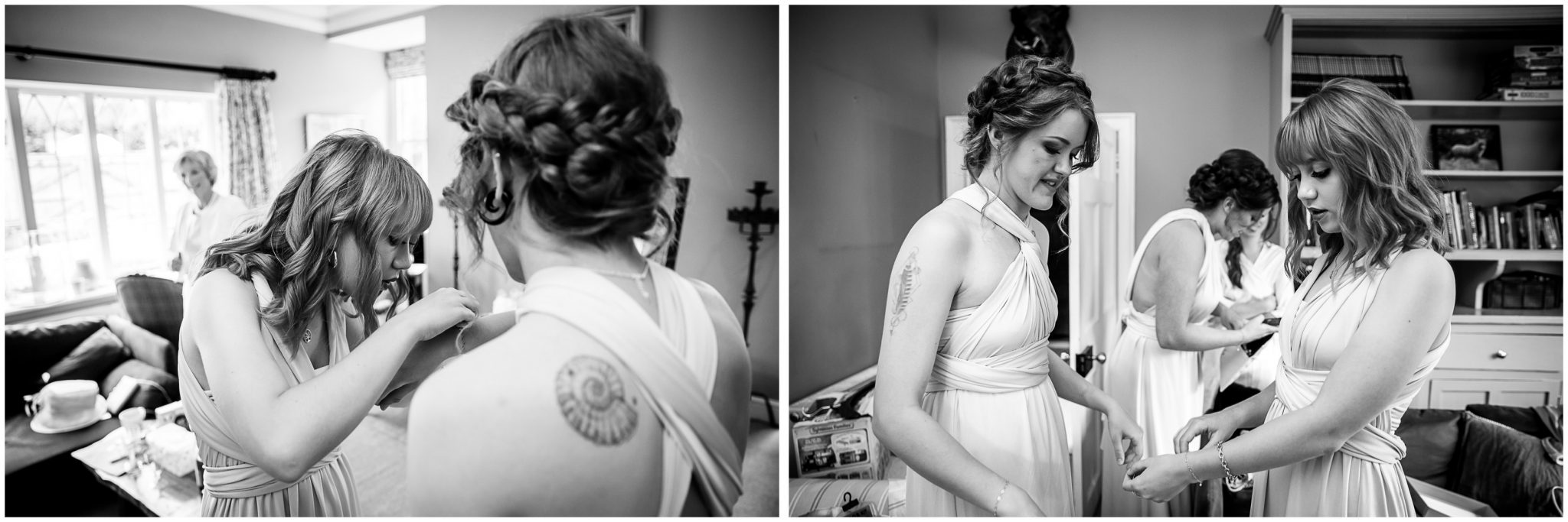 Bridesmaids putting on jewellery
