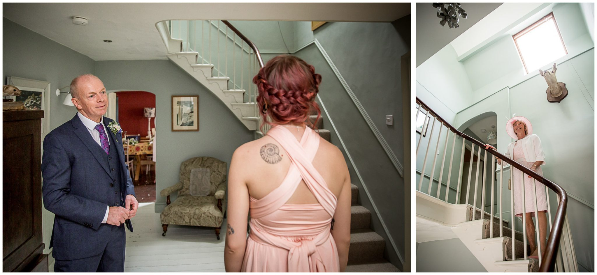 The bride's family wait for the bride to come downstairs after getting dressed