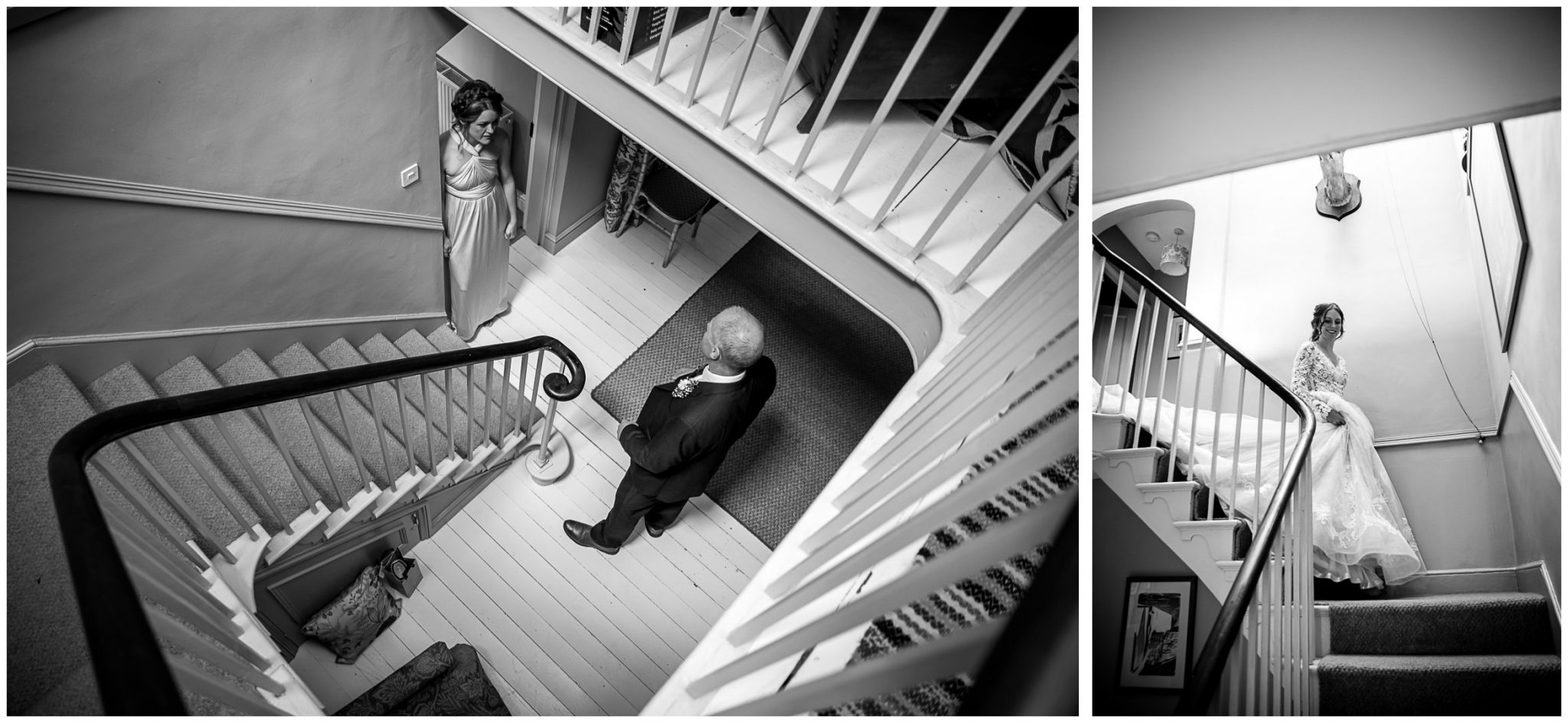 The bride comes down the stairs