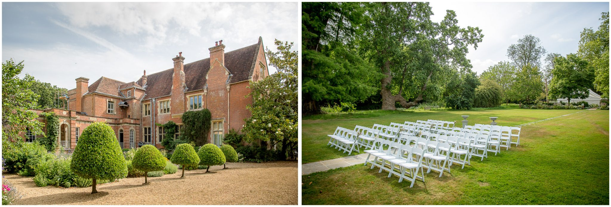 The rear lawn set up for an outdoor wedding ceremony