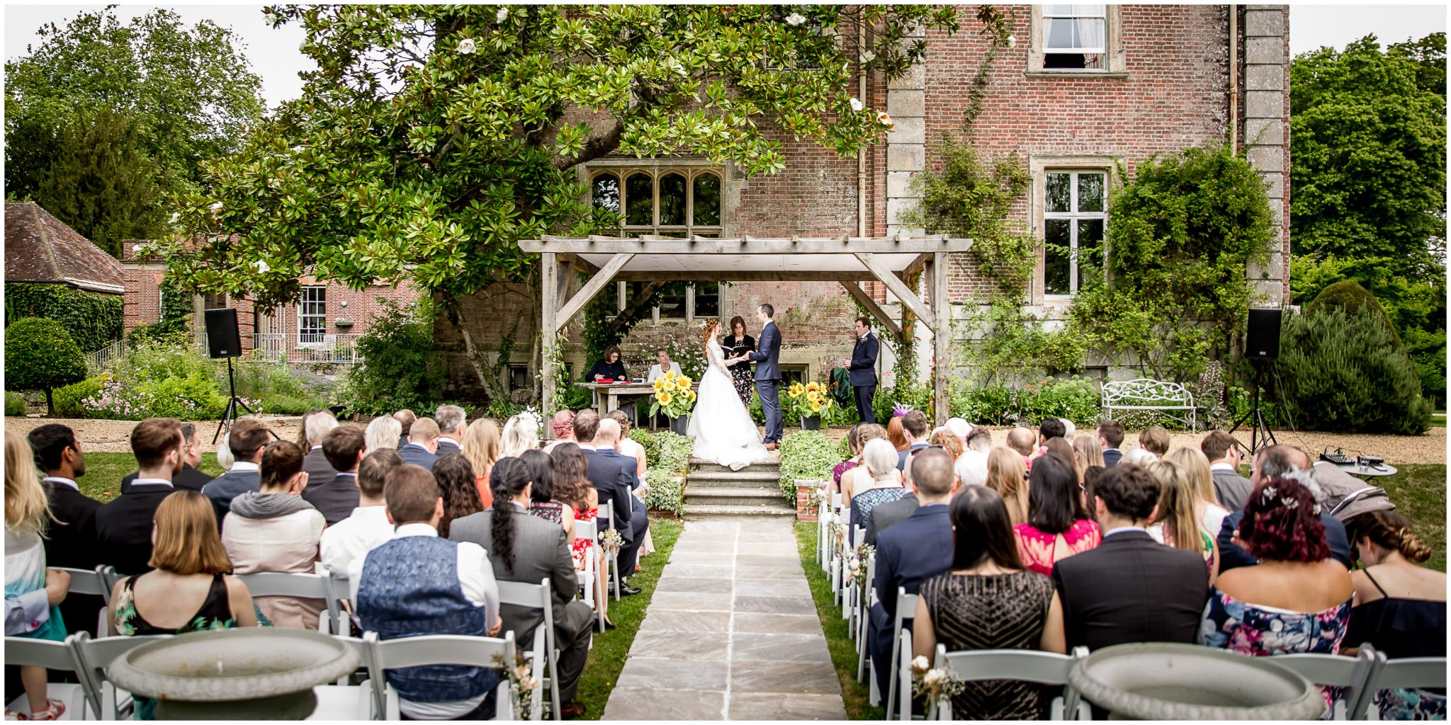 The outdoor ceremony area to the rear of the house