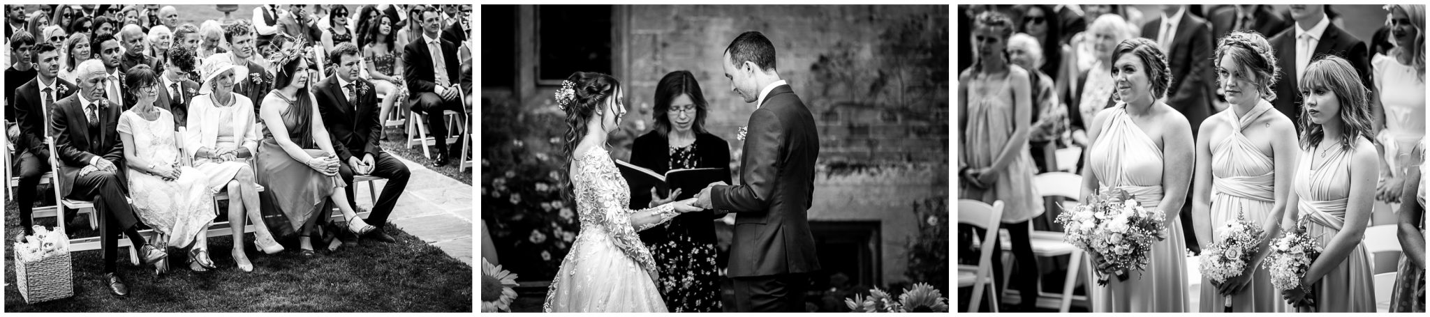 Black and white images of wedding guests watching the bride and groom get married