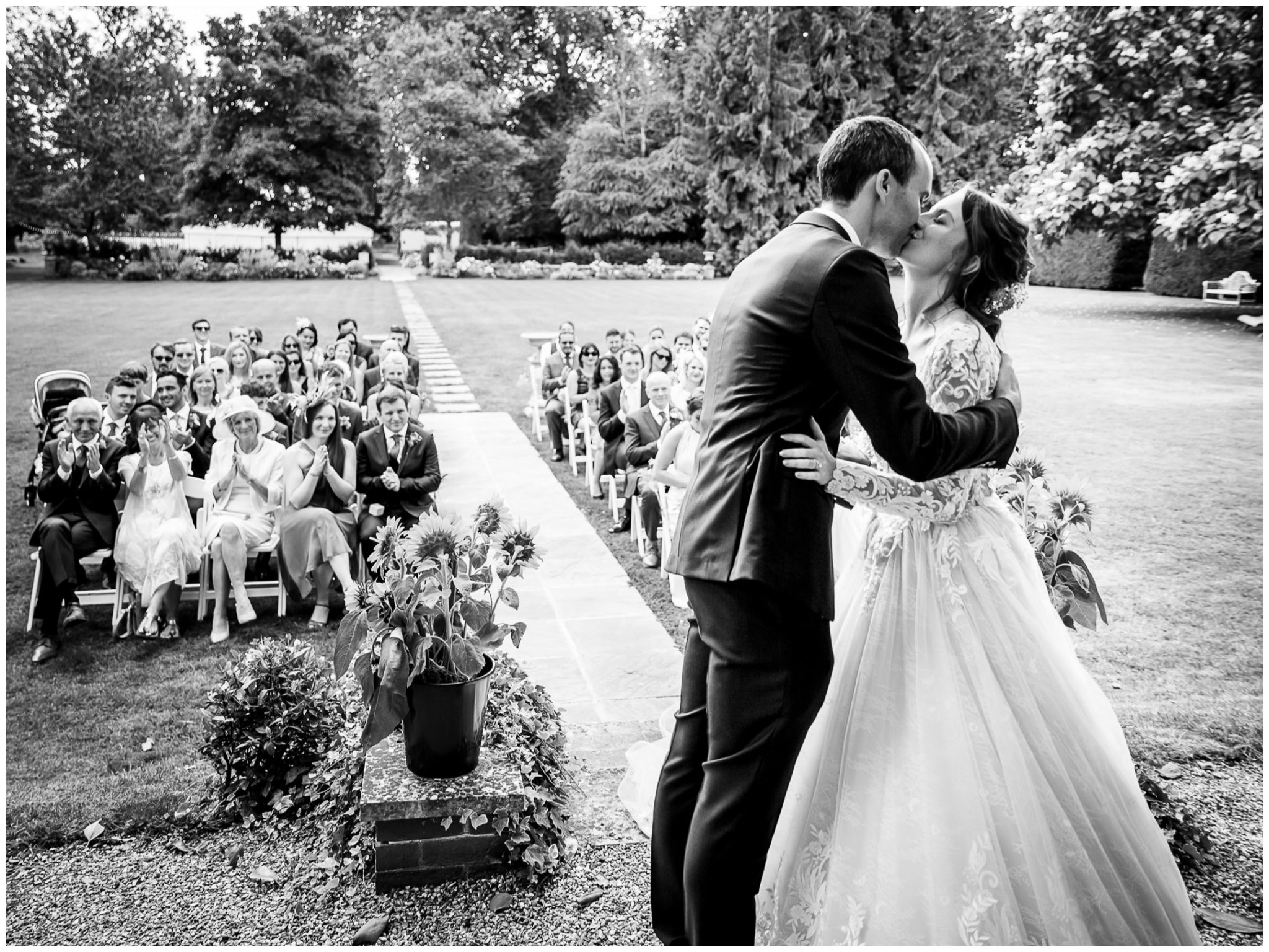 The couple kiss for the first time as husband and wife