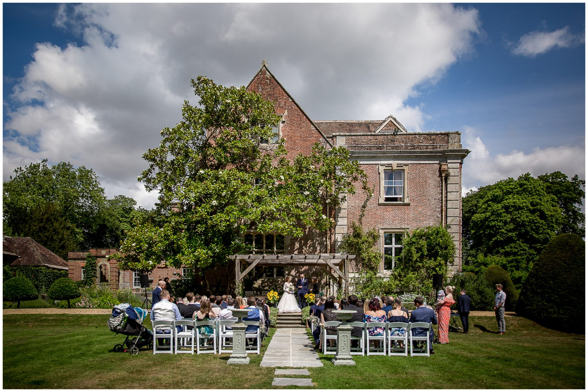View of the rear of the house during the marriage service