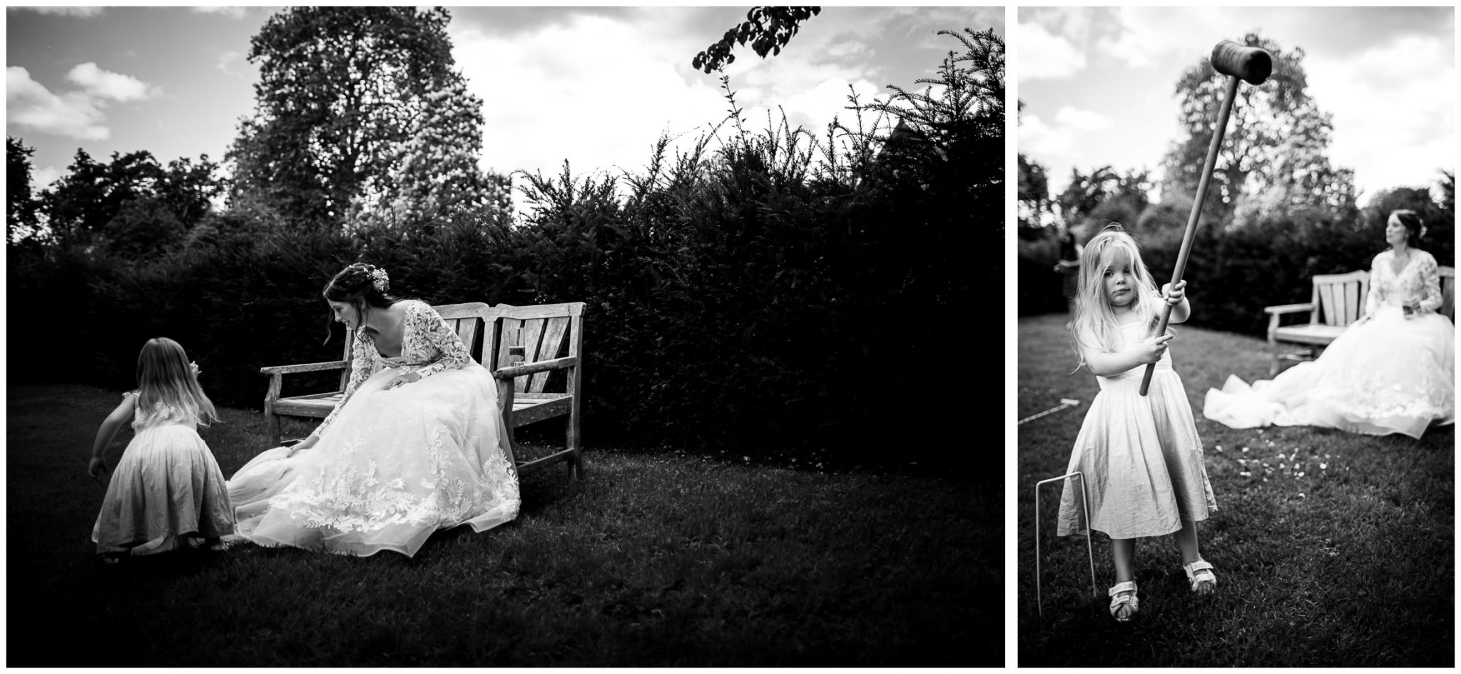 Black and white photos of bride with flower girl