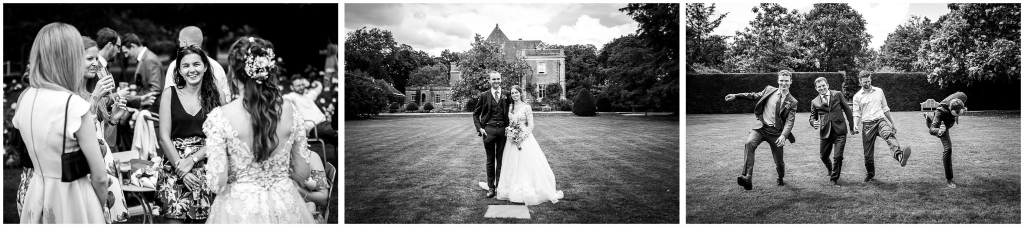 Bride and groom posed in front of house