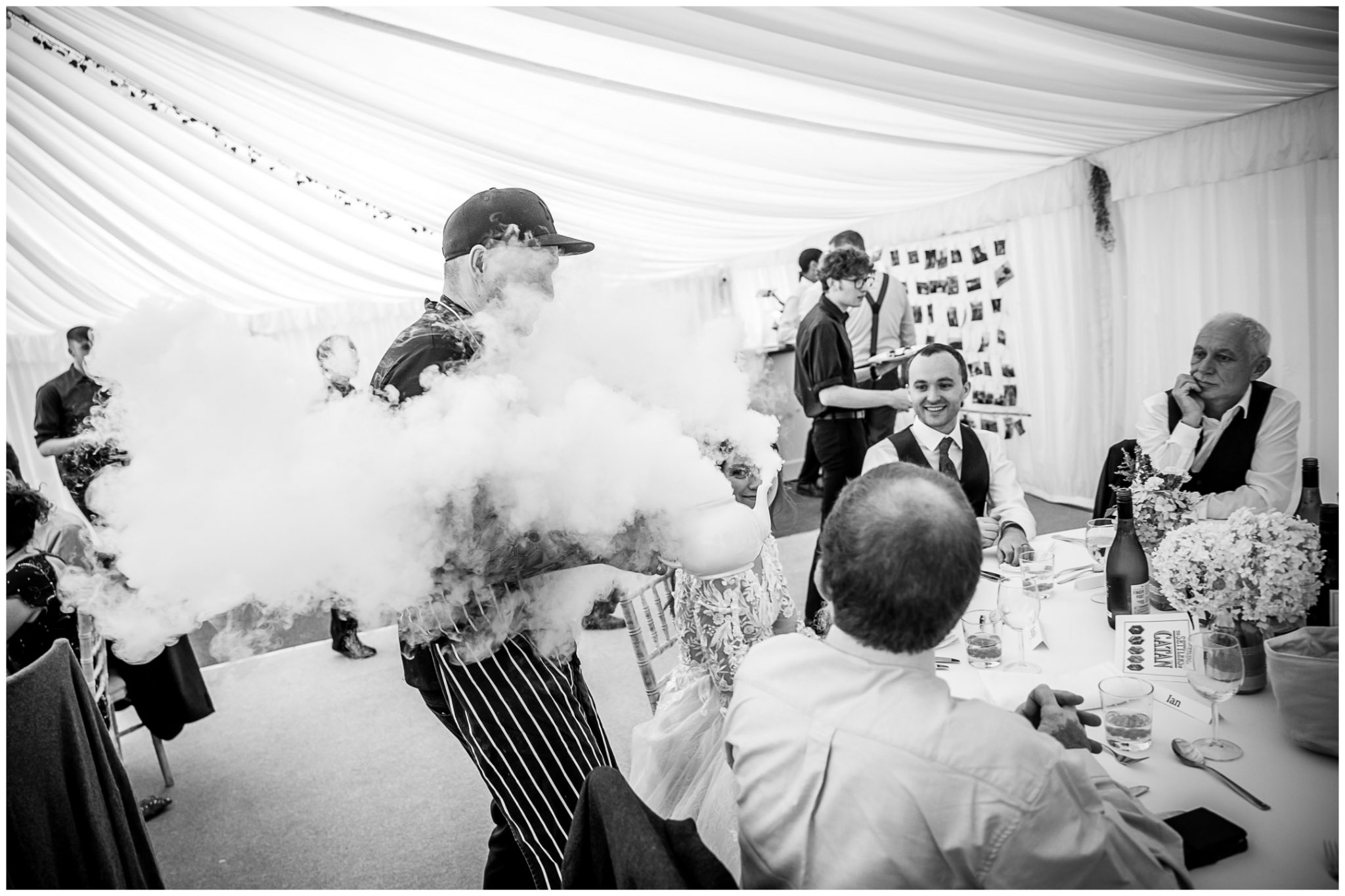 Dry ice billows out of a teapot as the dramatic first course is served to the top table