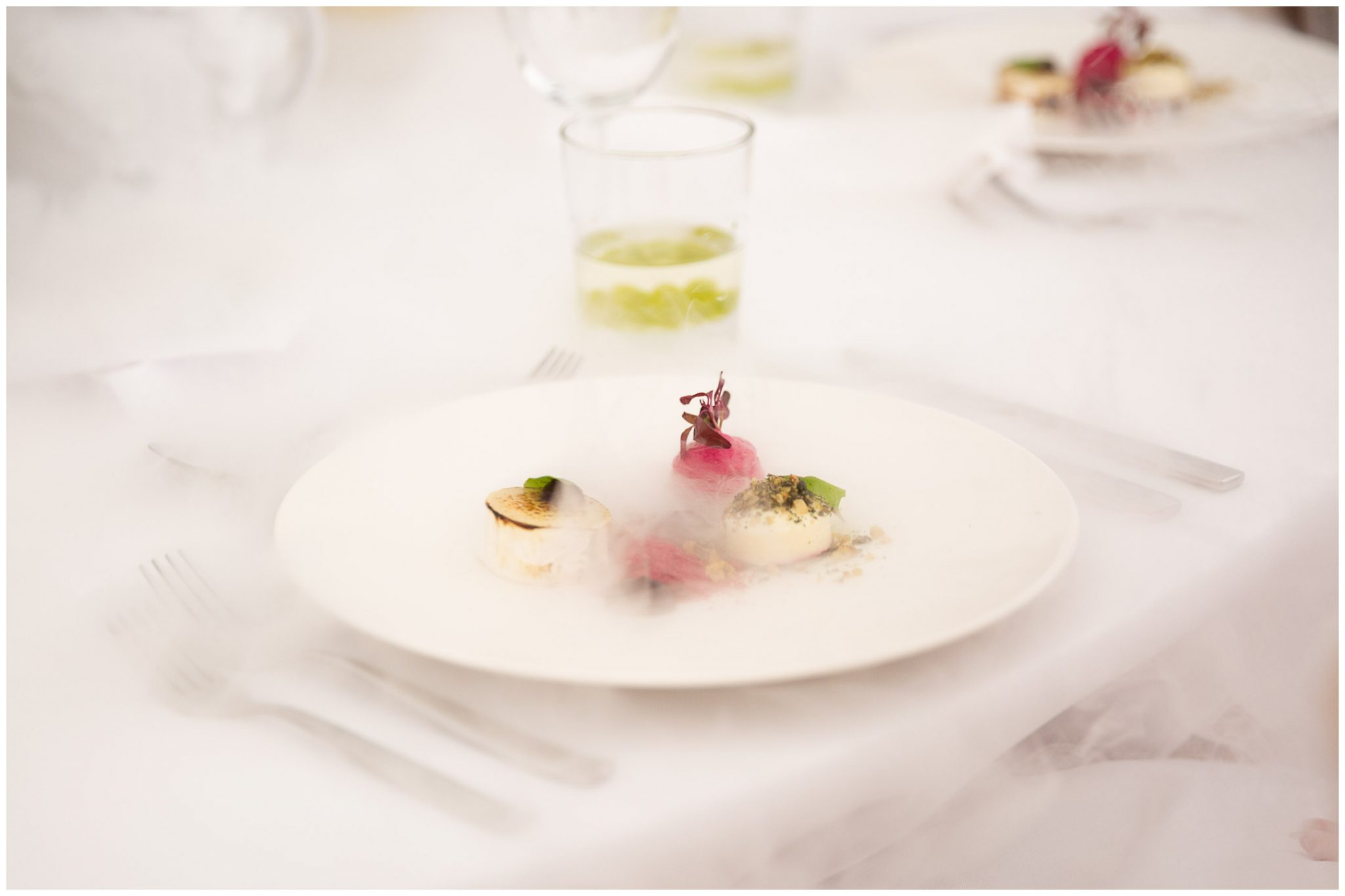 Goats cheese and beetroot starter with dry ice