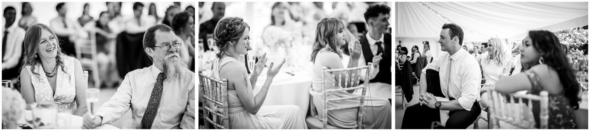 Black and white candid photos of guests watching the speeches