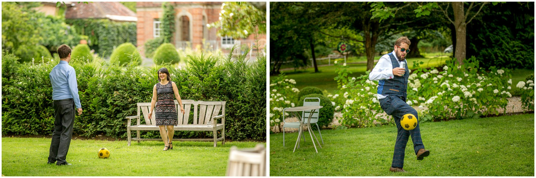 Guests enjoying the gardens in the evening light