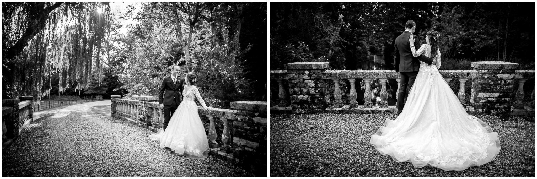 Black and white couple portraits with bride and groom