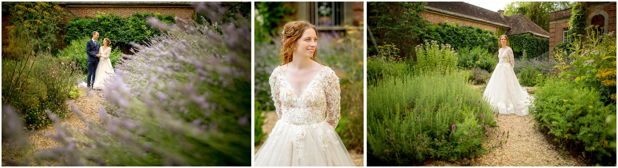 Couple portraits in the formal gardens behind the house
