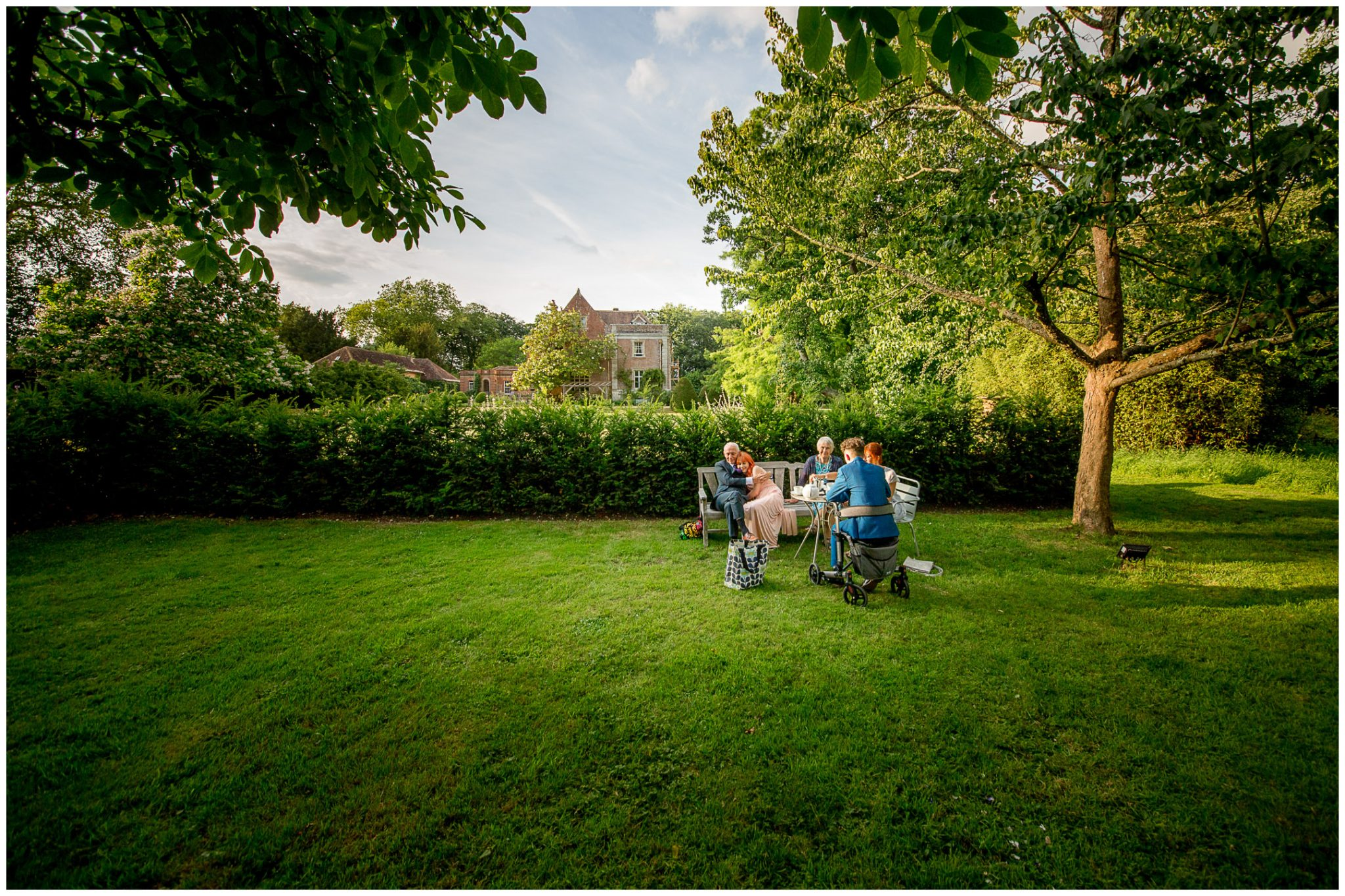 Family members relaxing in the evening light
