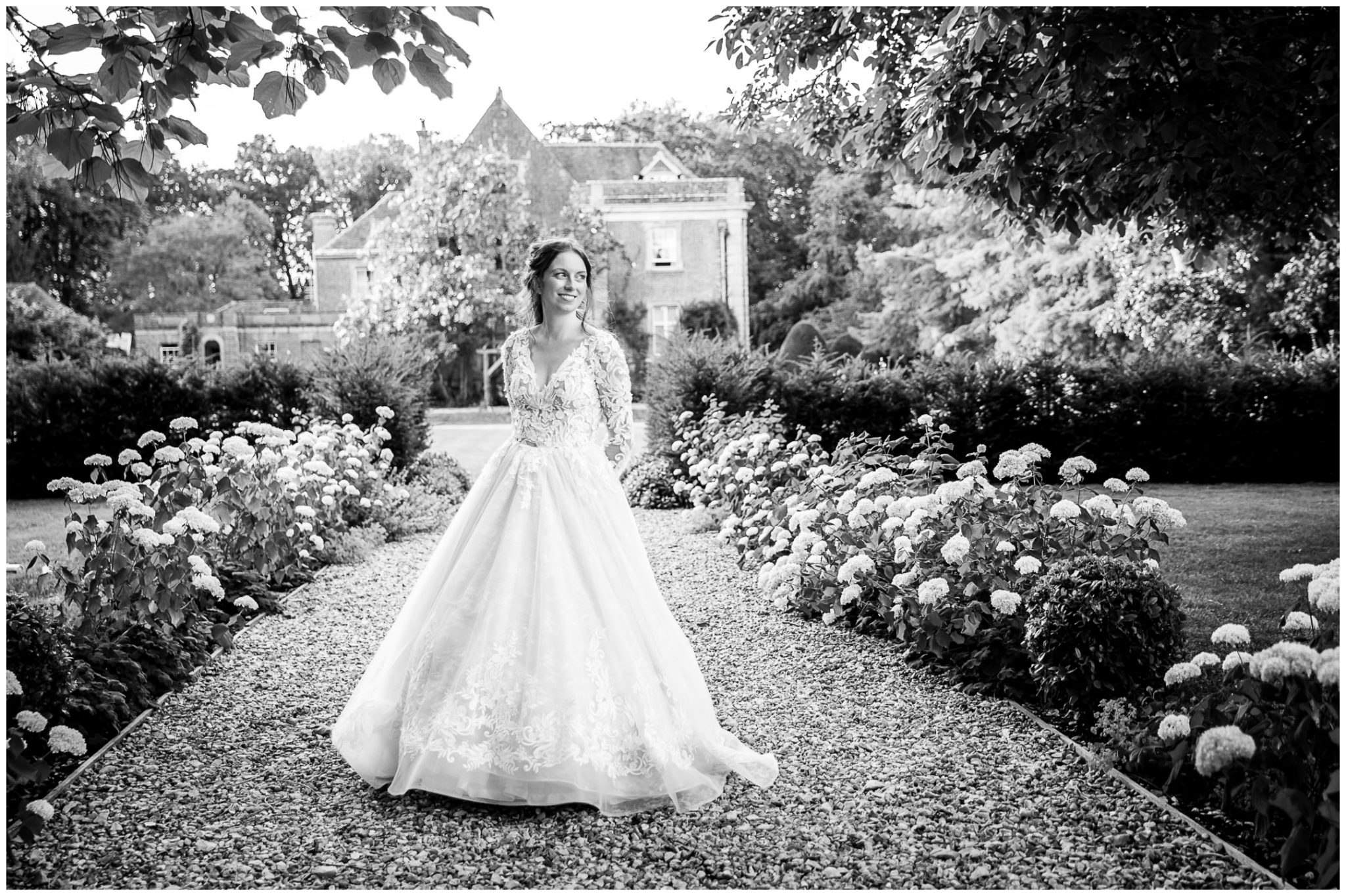 Bridal portrait in formal gardens