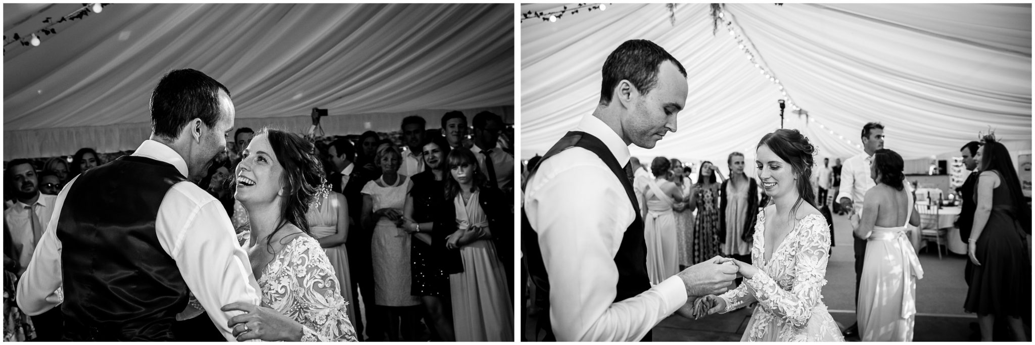 Black and white photos as couple kick off the evening party