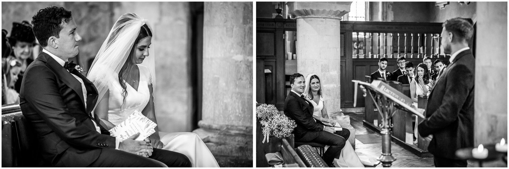 Black and white photos of bride and groom sat for the readings