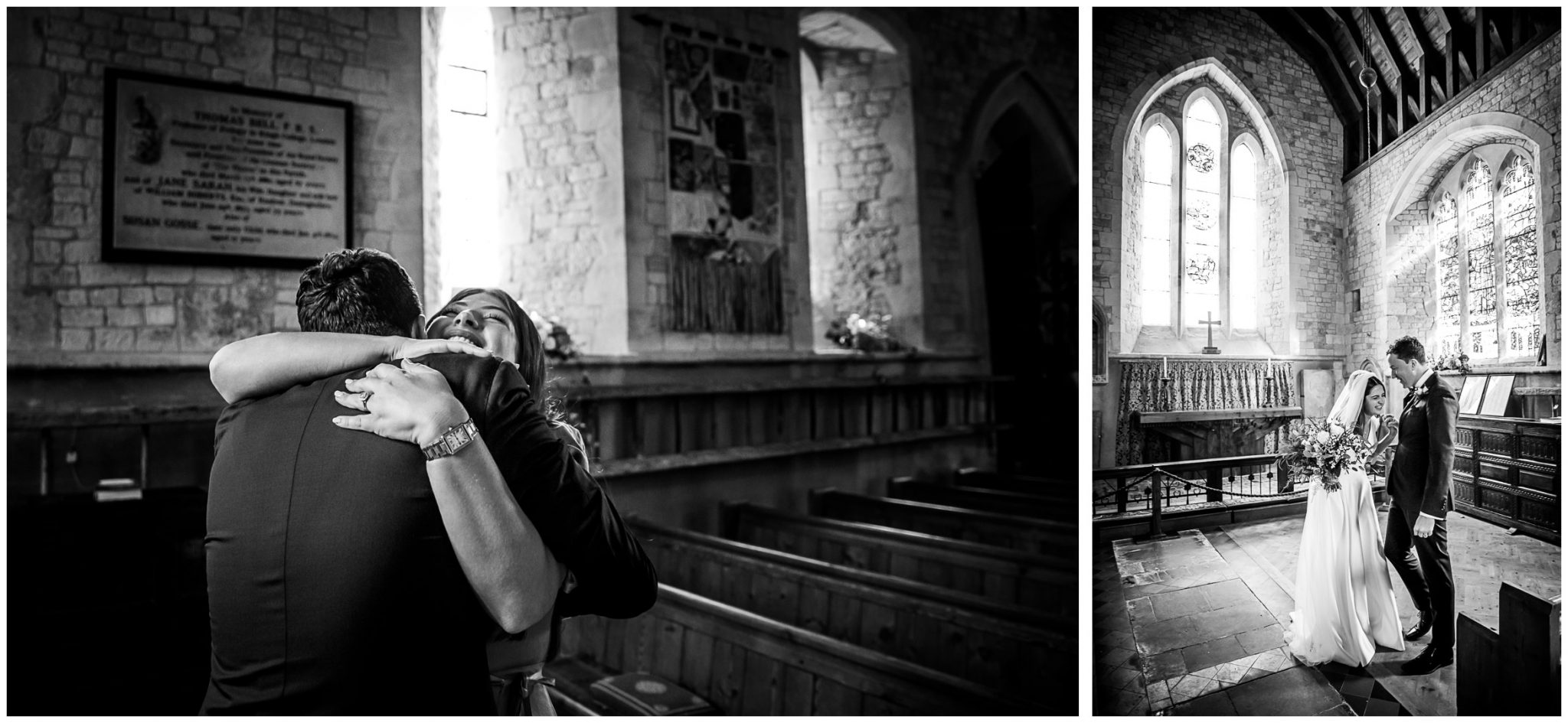 Black and white candid photography as the couple take a moment in the now-empty church