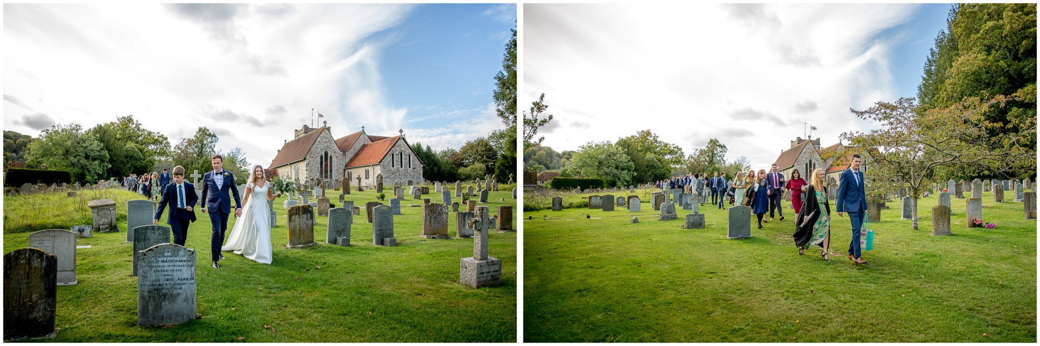 The couple lead their wedding guests through the churchyard to the wedding reception