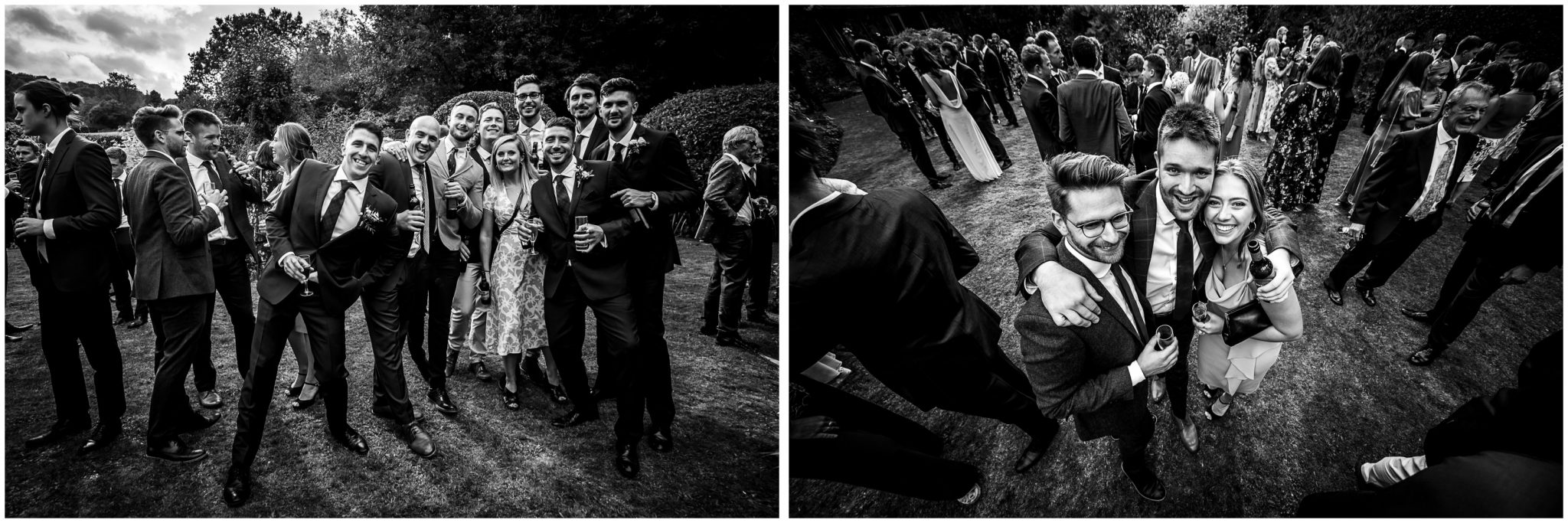 Black and white candid photographs of guests during the wedding reception