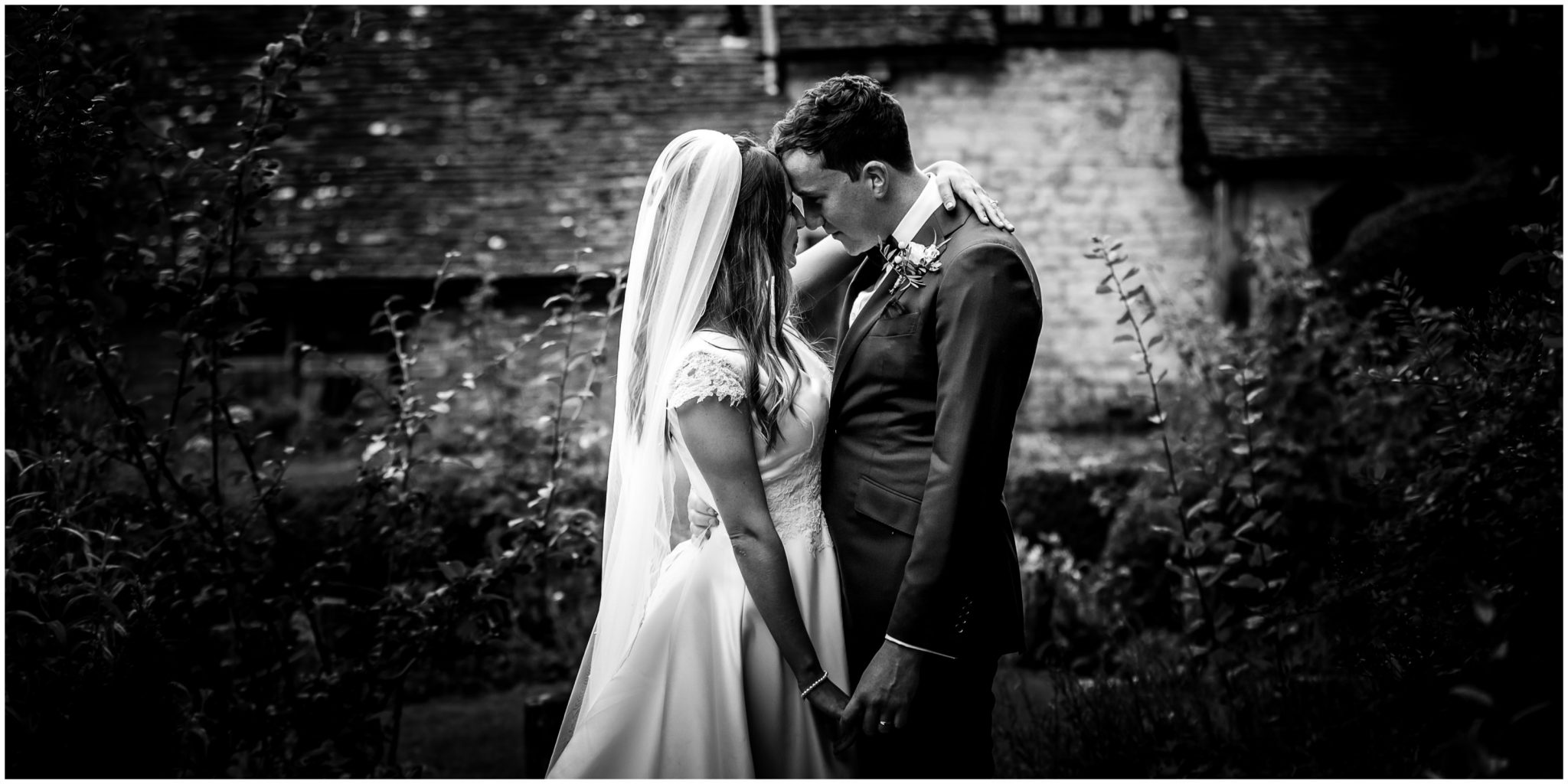 Black and white couple portraits in the garden