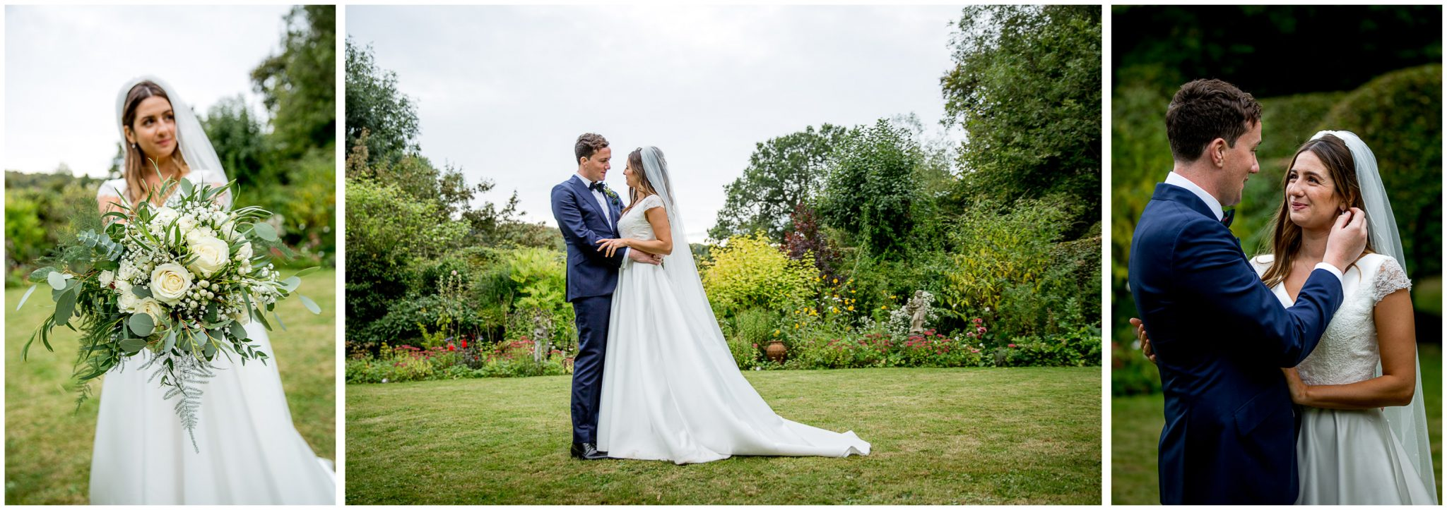 Couple in the garden wedding portraits