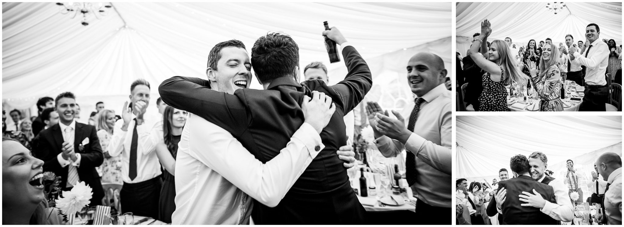 The groom is greeted enthusiastically by his friends