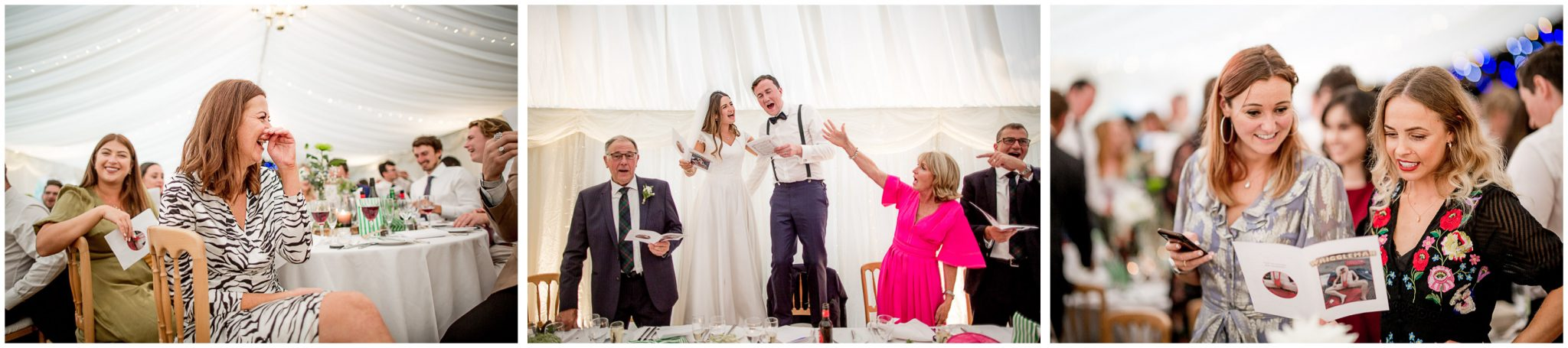 Wedding guests react to the best man's speech