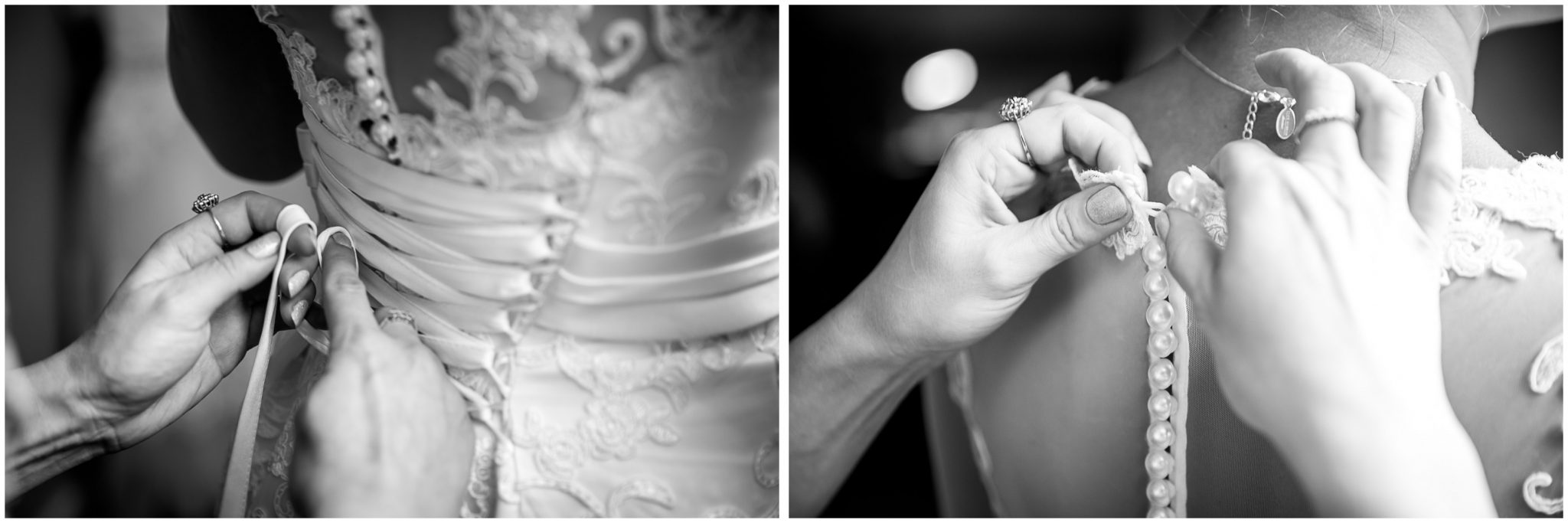 Details of the back of the wedding dress as the bride gets ready