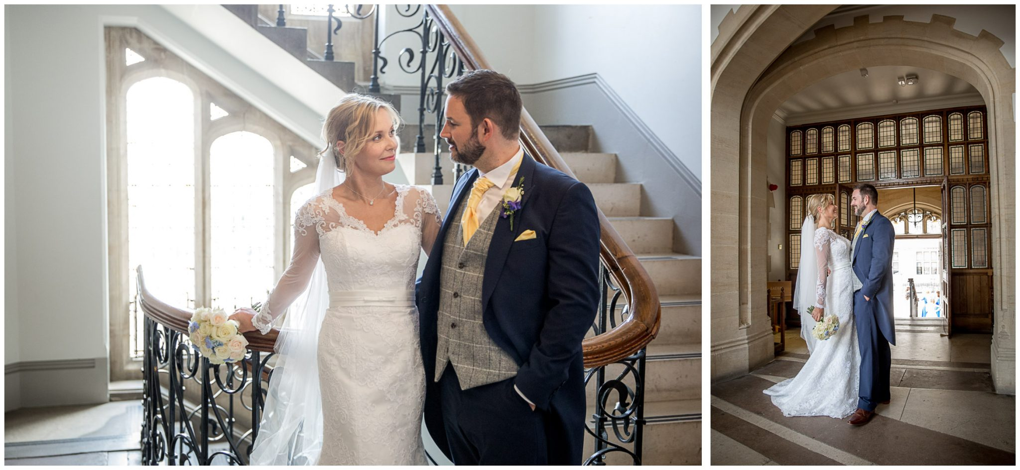 Couple portraits by the staircase in Winchester's Registry Office