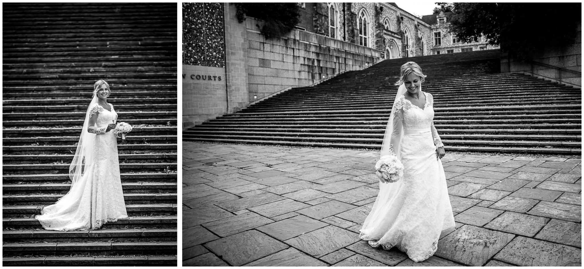 Bridal portrait in black and white on Winchester's law court steps