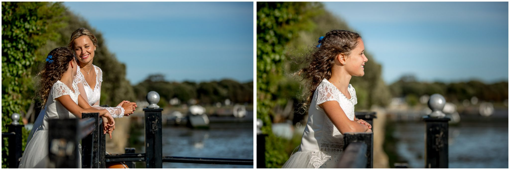 The bride and her daughter look out across the water