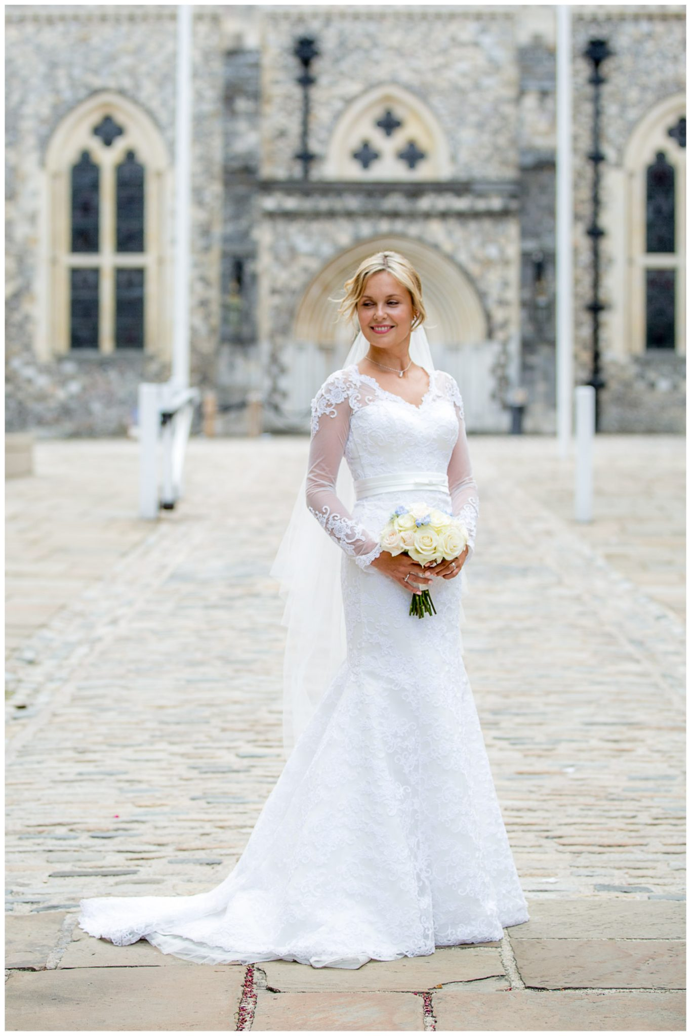 Bride portrait on Castle Hill in Winchester, in front of the Great Hall