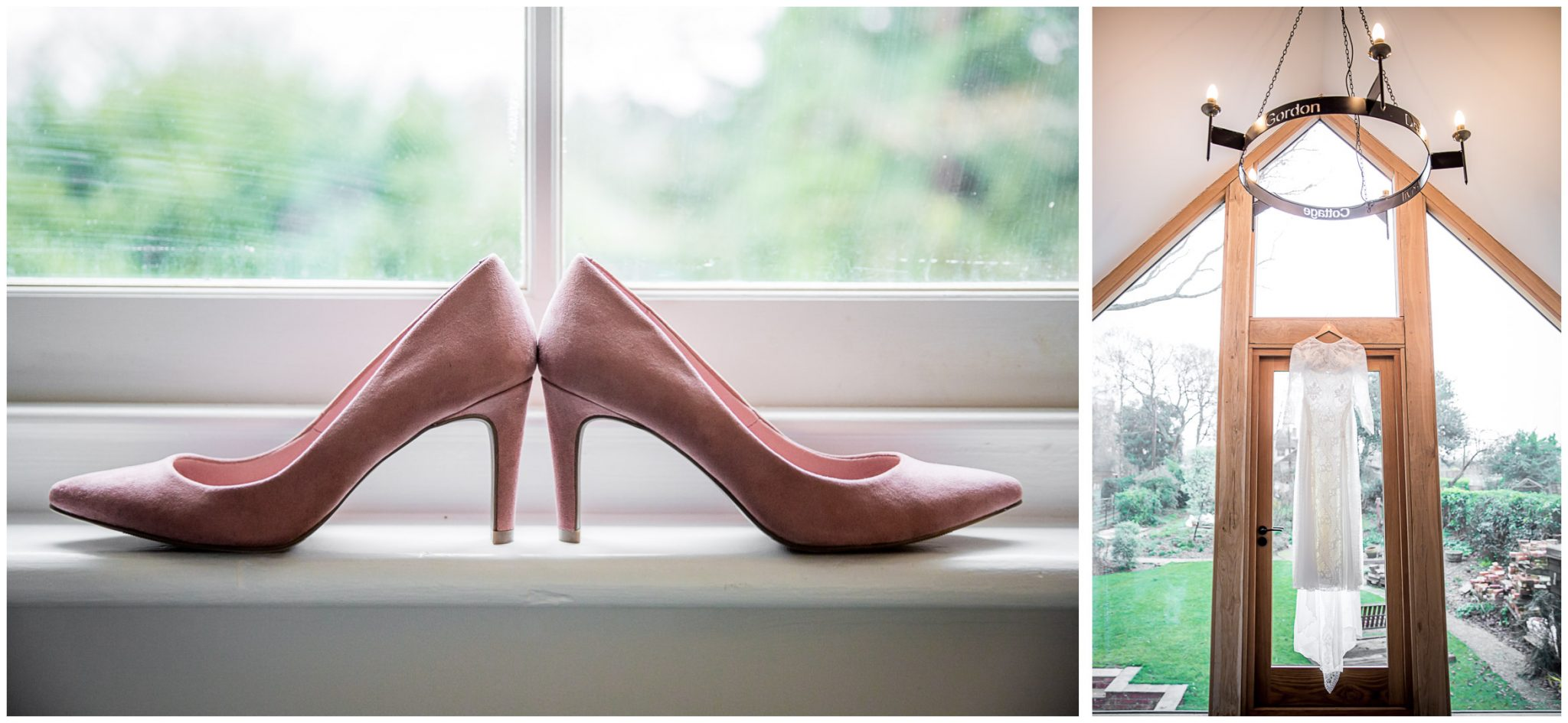 Dress hanging and wedding shoes for bridal preparation at home